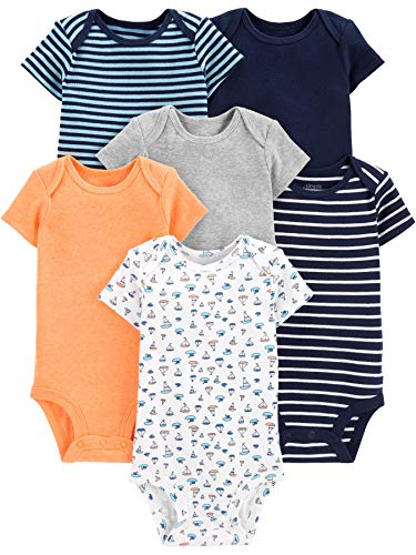 f87bab672 Simple Joys by Carter's Boys' 6-Pack Short-Sleeve Bodysuit, Sailboat/Blue  Stripe/Orange/Gray 3-6 Months